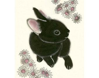 "Black Bunny Rabbit art print - Little Black Bunny - 4"" X 6"" animal portrait - 4 for 3 SALE"