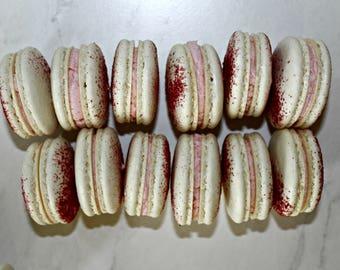 White Chocolate Raspberry French Macarons (One Dozen)