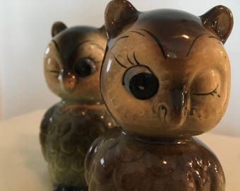 Vintage Winking Owl Salt and Pepper Shakers