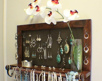 ON SALE Real Washington Cherry Wood Wall Mounted Jewelry Organizer with Bracelet Bar and Clear Bud Vase, Wall Organizer, Jewelry Display