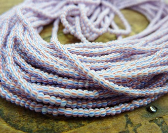Vintage Seed Bead Striped Beads Size 12 Seed Bead Hank Red White Blue Trade Beads Tiny Beads SB1114