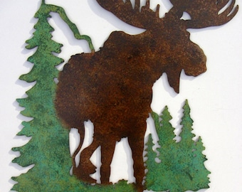 Moose, Cabin, Lodge, Northwoods ,Metal Art,Woodsy,Outdoorsy,Pine trees,Mountains