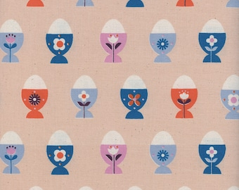 Welsummer Egg Cups in Peachy, Kim Kight, Cotton and Steel, RJR Fabrics, 100% Cotton Fabric, 3056-02