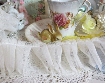 Pleated-Ruffled Tulle Trim-BTY-CREAMY-Mixed Media-Altered Art-Supplies-2 inch-Sewing-Tutu