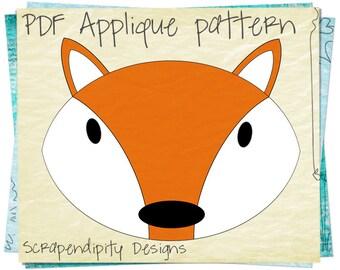 Fox Applique Pattern - Animal Fabric Applique / Fox Sewing Pattern / PDF Nursery Bedding / Baby Bodysuit Iron on / Wall Hanging AP22-D