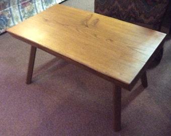 Vintage Handmade White Oak Plank Bench