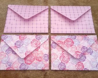 Pink rose envelopes, pink roses, pack of four, handmade envelope set, floral stationery, patterned envelopes