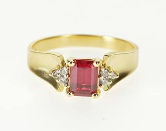 14k Emerald Cut Ruby* Diamond Accented Curved Ring Gold