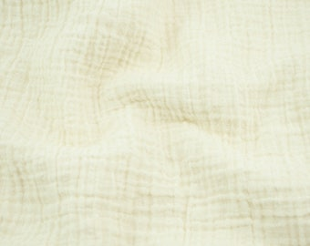 """Double Gauze Fabric Vanilla - half yard - Sunny Double Gauze - 100% cotton muslin, 52"""" wide - ivory color - perfect for swaddle blankets"""