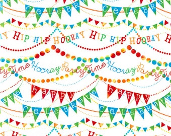 Birthday Banner on White from the Birthday Party Collection from Timeless Treasures, Happy Birthday, Party Fabric