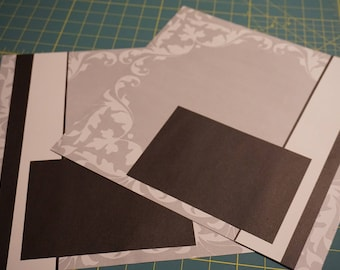 "OOAK ""Elegant Gray Tonal"" 12 x 12 Scrapbook Pages - 2 Page Set"