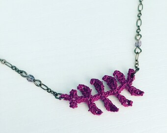 Garfield Park Crochet Necklace in Grape, Purple, Fern Leaf, Branch Pendant, Botanic Garden, Gift Under 50, Gift for Her, Boho Style