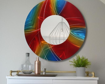 Red, Blue & Golden Yellow Modern Metal Wall Mirror, Prismatic Abstract Wall Accent, Round Contemporary Wall Art - Mirror 119 by Jon Allen