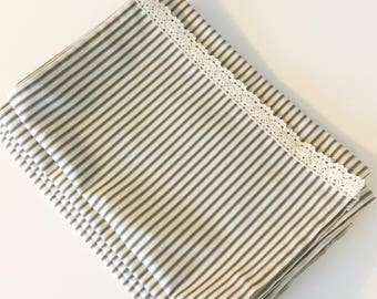 """Ticking stripe table runner with lace - wedding table runner - generous 15"""" wide size"""
