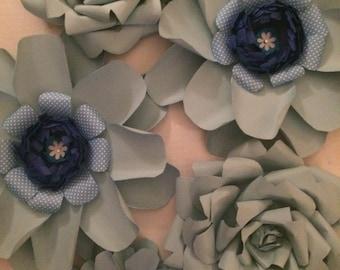 Paper Flowers Light Blue Assortment set of 5
