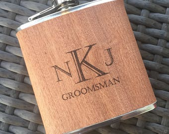 Engraved Wood Wrapped Flask. Give as a Groomsmen Gift. Great for a Father's Day Gift. Wedding Party. Will you be my Groomsman? Husband Gift.