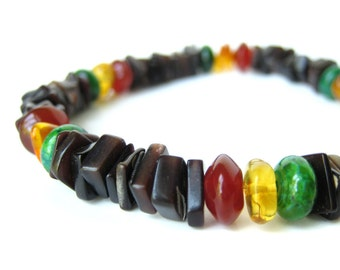 Men's beaded bracelet - black shell bracelet for men - Rasta