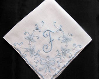 Vintage Handkerchief Wedding - Embroidered Bride Hankies - Bridal Something Blue