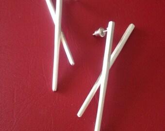 Sterling Silver Chopstick Earrings