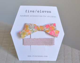 Lemoncurd + cotton candy hair clips. Hand made Liberty bow barrettes for girls.