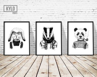 "Hipster Animal Print Set of 3 8x10"", Funny Animal Art, Bunny Rabbit Print, Badger Print, Panda Print, Animal Illustration, Hand Drawn Print"