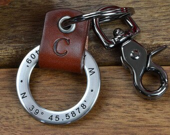 Custom Coordinates Keychain, Mens Personalized Leather Keychain - Latitude Longitude GPS Keychain or Any text up to 35 Characters!