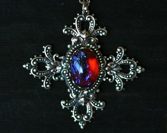Gothic Dragon Breath Cross Necklace - Game of Thrones Inspired