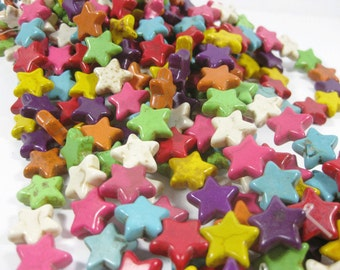 15mm Multi Colored Howlite Star Beads set of 8