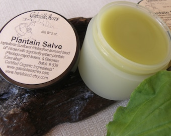 Plantain Salve - Herbal Plantain Salve - Organically Grown -  Natural - Organic Ingredients - Plantain Balm - Herbal Balm