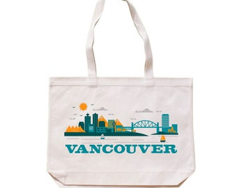 City Living Tote bag - Vancouver - British Columbia - Market bag - Reusable bag - Canvas tote - Shopping bag - Shoulder bag - Organic