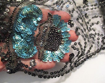 Antique 1920s Tulle Sequins Beaded Metallic Encrusted Amazing Detail
