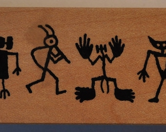 Rubber stamp mounted on wood - ethnic characters