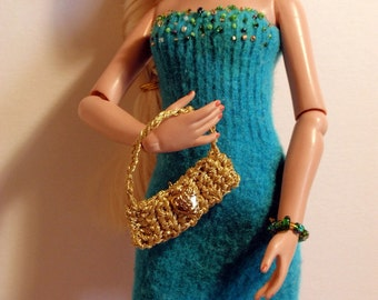"""Turqouise Beaded Knit Dress for 15"""" Doll"""