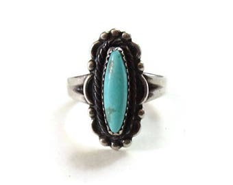 Bell Trading Post Navajo Turquoise Ring Size 5 1/2 Sterling Silver Signed