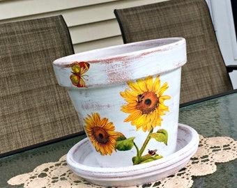 "Painted flower pot, sunflower decoupage planter, Tuscan garden decor, decorated terracotta, gift for her, farmhouse, housewarming gift, 7""."