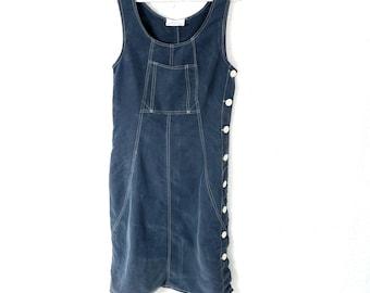 Blue Sarafan French dress Boho Hippie Vintage 90s Side Button Sleeveless Folk Size Small S