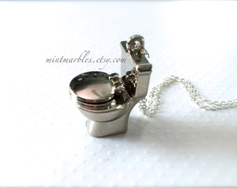 Miniature Silver Toilet Necklace with Opening Lid. Metal. Oddities. Funny Unusual Jewelry. Unisex Cute Miniatures. Under 20. Bathroom Humor.
