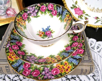 Paragon Tea Cup and Saucer Trio ENGLISH GARDEN ROSE teacup with 6.5  inch plate