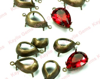 14x10 Oxidized OX Antiqeu Brass Tear Drop Pear Open Back Prong Stone Jewel Settings 1 Ring 2 Ring - 6pcs