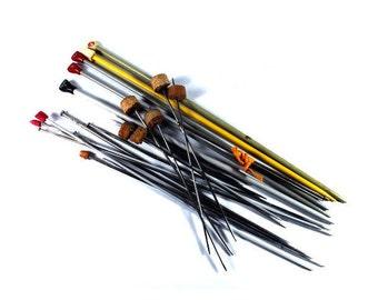 Vintage Aluminum Knitting Needles, Antique Knitting Needles, Colorful Knitting Needles, Set Of 30 Knitting Needles