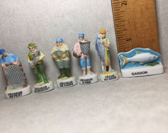 FISHING Fishermen FISHERMAN    - French Feve Feves Hand Painted Porcelain Doll House Figurines Miniatures NN4