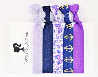Butterfly Hair Ties, Butterflies, Purple, Navy Blue, Anchors, Elastic Hair Ties, Handmade, Elastic Ribbon, Ponytail Holder, Knotted Hair Tie