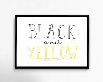 Pittsburgh Sports Print, Football Art, Black and Yellow, Man Cave Decor, Instant Download, Hand Lettered