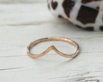 Stacking Ring, Chevron Ring, Knuckle Ring, Gold Filled Ring, Geometric Ring, V Ring, Midi Ring, Hammered Chevron Ring, Gold Chevron Ring