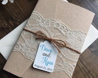 Rustic Wedding Invitation, Vintage Wedding Invitation, Lace Wedding Invitations, Pocketfold Wedding Invitation, Country Wedding Invitations
