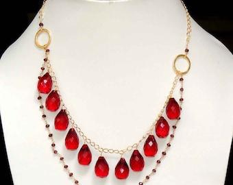 "Garnet quartz teardrops with garnet quartz beaded chain gold vermiel necklace 22"""