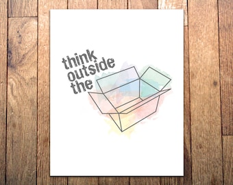 Graphic Art Print - 'Think Outside the Box' - 8x10 - Watercolor design print for a designer or artist