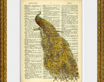 PEAC0CK recycled book page art print - an upcycled antique dictionary page with a retooled antique bird illustration - home decor