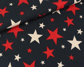 Cotton jersey colorful stars on dark blue (14.90 EUR/meter)
