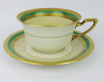 Vintage Rosenthal Gold Encrusted & Green Tea Cup And Saucer Set #2698